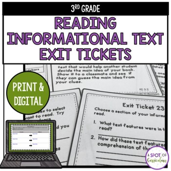 Standards Based Reading Exit Tickets: 3rd Grade Informational Text