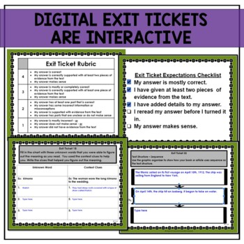 3rd Grade Standards Based Reading Exit Tickets for Informational Text