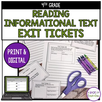 Standards Based Reading Exit Tickets: 4th Grade Informational Text