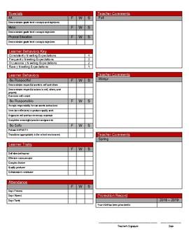 Standards Based Report Card - 1st Grade