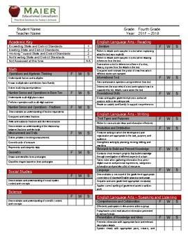 4th grade report card  Standards Based Report Card - 5th Grade