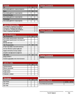 Standards Based Report Card - 5th Grade