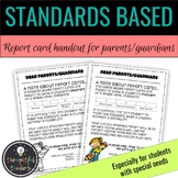 Editable Standards Based Report Card Disclaimer for Specia