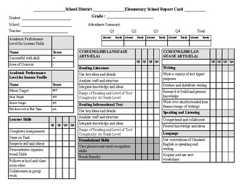 grade 8 report card  Standards Based Report Card Grades K-5