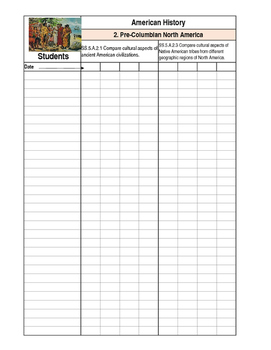 Florida Standards Based Social Studies Grade Book for 5th Grade