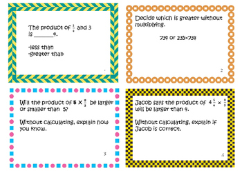 Standards Based Task Cards Numbers and Operations: Multiplying and Fractions