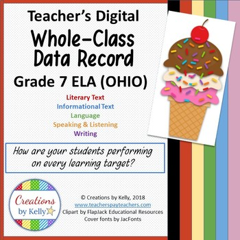 Digital Data Notebook, Teacher Edition, 7th Grade ELA (OHIO Standards)