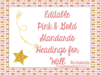Standards Bulletin Board Headers - Pink & Gold Themed, Editable