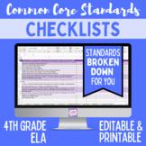 Common Core Checklist - Fourth Grade ELA