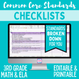 Common Core Checklist - Third Grade ELA & Math Bundle