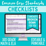Common Core Checklist - Third Grade ELA & Math Bundle