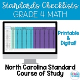 Standards Checklist 4th Grade Math NCSCOS