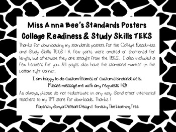 Standards Posters - College Readiness & Study Skills TEKS (Black Giraffe)