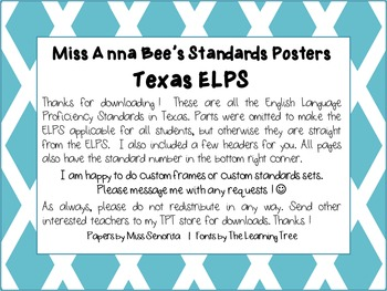 Standards Posters - ELPS (Aqua Diamonds)