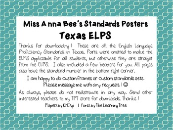Standards Posters - ELPS (Teal Squiggles)
