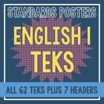 Standards Posters - English I TEKS (Purple Houndstooth)