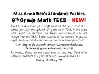 Standards Posters - NEW 6th Grade Math TEKS (Frameless)