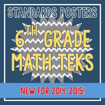Standards Posters - NEW 6th Grade Math TEKS (Gray Chevron)