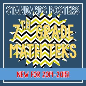 Standards Posters - NEW 7th Grade Math TEKS (Bee Chevron)