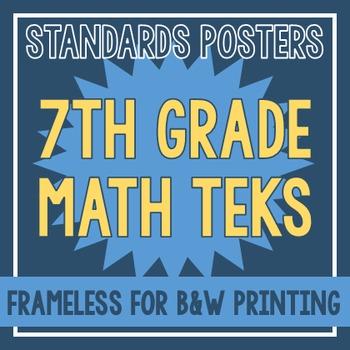 Standards Posters - NEW 7th Grade Math TEKS (Frameless)