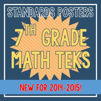 Standards Posters - NEW 7th Grade Math TEKS (Orange Stripes)