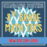 Standards Posters - NEW 8th Grade Math TEKS (Aqua Diamonds)