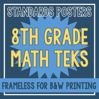 Standards Posters - NEW 8th Grade Math TEKS (Frameless)