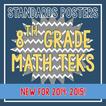 Standards Posters - NEW 8th Grade Math TEKS (Gray Chevron)