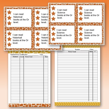 Standards/ Power Goal Cards and Editable Name Cards Orange Level