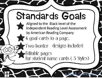 Standards/ Power Goal Cards and Editable Name Cards Black Level
