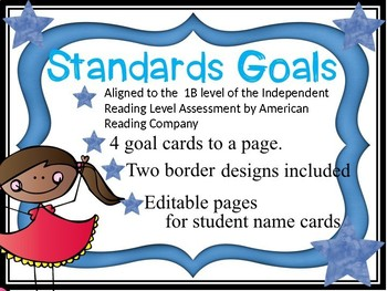 Standards/ Power Goal Cards and Editable Name Cards 1Blue Level