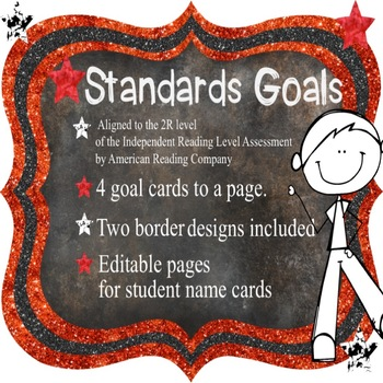 Standards / Power Goal Cards with Editable Name Cards 2Red Level