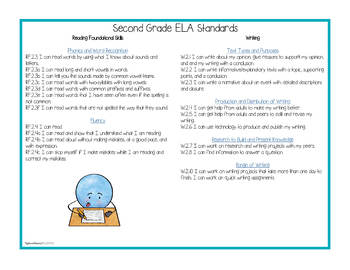 """Second Grade Standards - All Subjects """"I Can"""" Posters & Statement Cards"""