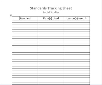 Standards Tracking Sheets