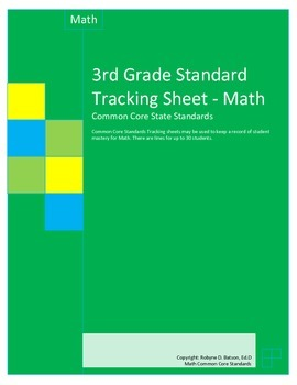 Standards Tracking Sheets (3rd Grade Math) Common Core