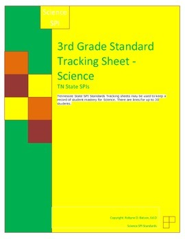 Standards Tracking Sheets (3rd Grade Science) SPIs
