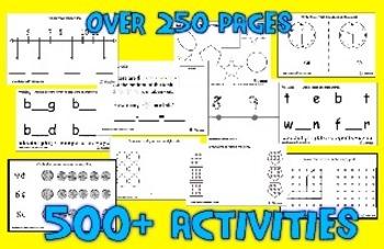 Standards Warm-Ups for Kindergarten - 500 Printable Activities - Over 250 Pages