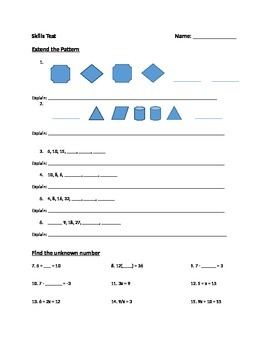 Standards based Algebra Skill Test