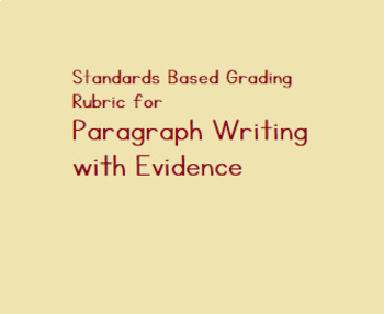 Standards based grading rubric for paragraph writing with evidence