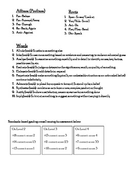 Standards based grading, vocabulary list/assessment, words, roots, affixes