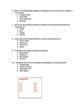 Standards based test questions - Aztec, Inca, Maya