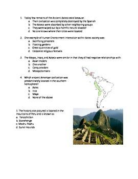 Standards based test questions - Aztec, Inca, Maya