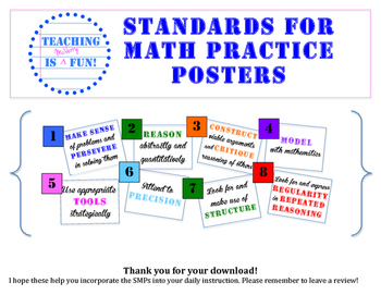 Standards for Math Practice - Common Core Posters