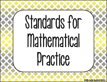Standards for Mathematical Practice Gray Yellow Diamonds Classroom Decor Posters