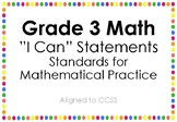 """Standards for Mathematical Practice """"I Can"""" Statement Posters - Rainbow Dots"""