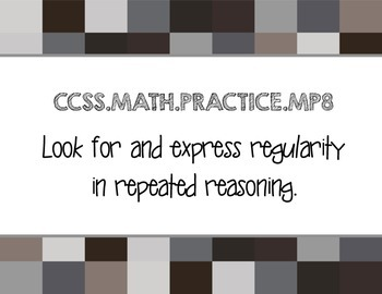 Standards for Mathematical Practice Pixel Posters