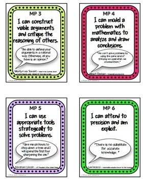 Common Core Standards Mathematical Practice Posters Quotes for Growth Mindset