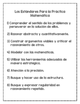 Standards for Mathematical Practice Posters - English and Spanish