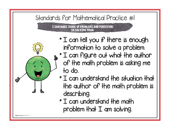 """Standards for Mathematical Practice Posters and """"I Can"""" Statement Cards"""
