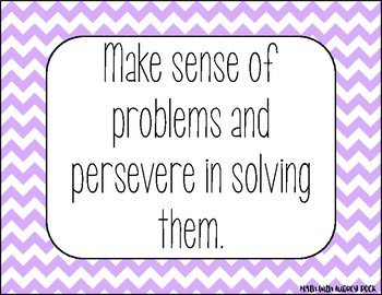 Standards for Mathematical Practice - Purple Chevron Classroom Decor Posters